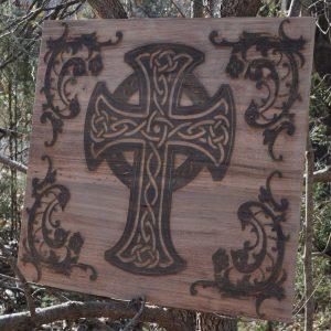celtic cross wall wood art
